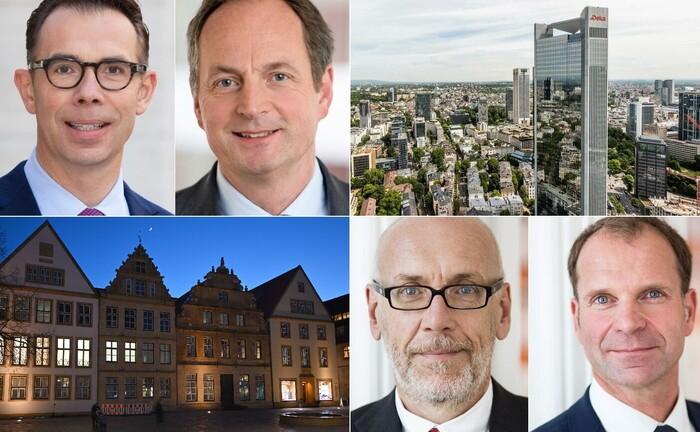 Vier Themen und ihre Protagonisten beziehunsgweise Hauptzentralen aus den Top 10 der meistgelesenen Online-Artikel im ersten Quartal 2020.|© imago images/Markus Rinke, Deka