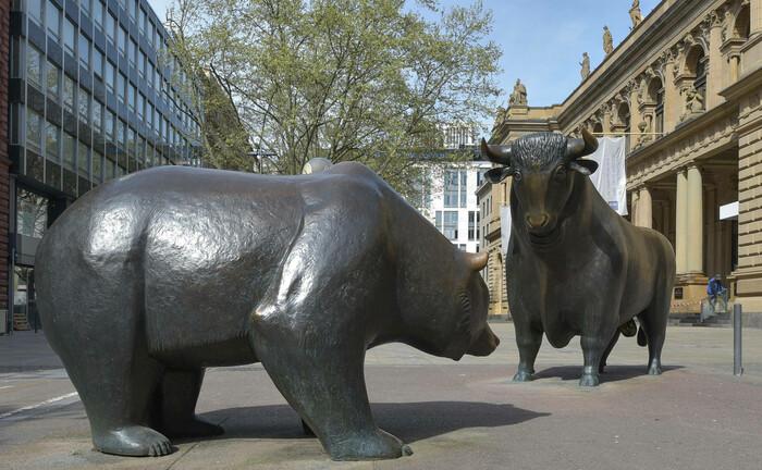 Bulle und Bär vor der Frankfurter Börse: Die Deutsche Aktuarvereinigung warnt vor einer Blasenbildung bei den grünen Anlagen.