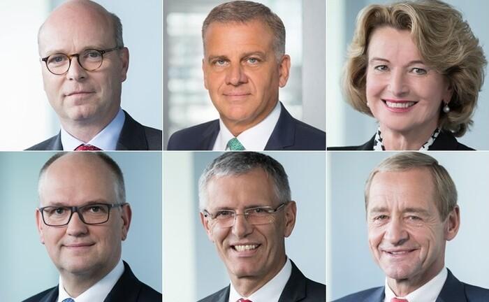 Obere Reihe von links: Norwin Graf Leutrum von Ertingen, Thomas Rosenfeld und Claudia Diem bilden ab Mai 2020 den dreiköpfigen Vorstand der BW-Bank. Rainer Neske, Karl Manfred Lochner und Michael Horn (untere Reihe von links) scheiden hingegen aus dem Gremium aus.