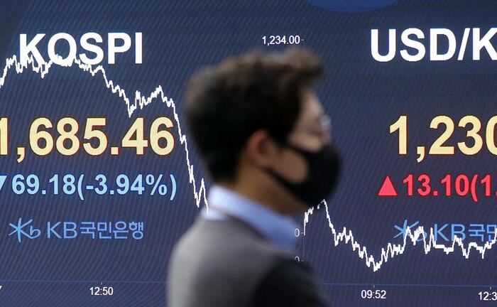 Anzeigentafel mit südkoreanischem Leitindex KOSPI und dem Währungspaar US-Dollar/Won: Anlegern bieten sich nach dem Kursverfall im März wieder Chancen für Investments in Aktien und Anleihen.