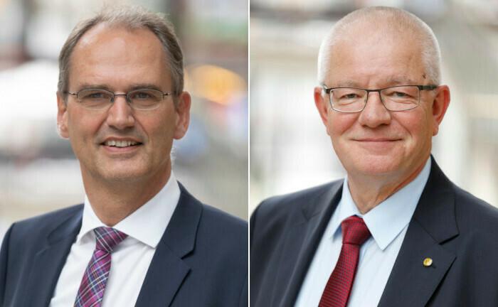 Dr. Friedemann Lucius (li.) und Stefan Oecking erörtern im Gespräch die Krise bei Pensionskassen. |© Deutsche Aktuarvereinigung (DAV)
