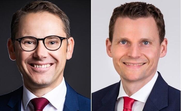 René Babinsky (l.) übernimmt bei der Hypovereinsbank ab sofort die Leitung der Privatkundenbank in der Region Ost. Volker Hecht bekleidet dieselbe Position für die HVB-Region Baden-Württemberg/Schwaben.|© HVB
