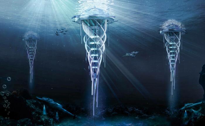 Teure Zukunftsmusik in einem Ideenwettbewerb: Der Drilling Water-Scraper soll Plastik aus dem Ozean fischen und in Material für 3D-Drucker wandeln und zugleich Energie in Form von Methan auf dem Meeresboden gewinnen.|© imago images / Cover-Images