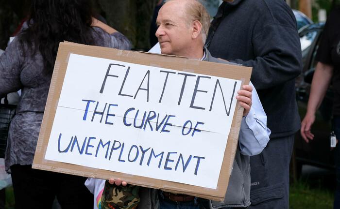 Demonstration gegen Corona-Schutzmaßnahmen in Pennsylvania: Der Jobverlust in den USA hat historische Ausmaße angenommen.