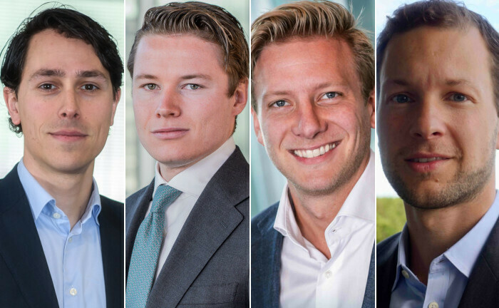 Vier neue Köpfe im Alternative-Fixed-Income-Team. V.l.n.r.: Philip van der Meijden, George Konings, Mickey Teunissen und George Nijborg.