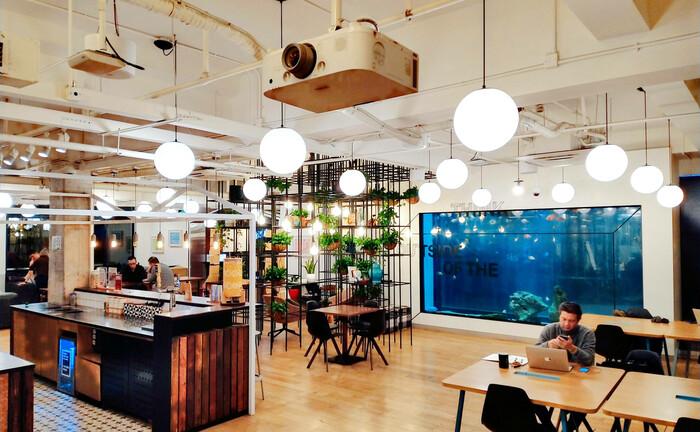 Großraumbüro des Anbieters Wework in Shanghai (China) mit Gemeinschaftsküche, Arbeitsplätzen und Rückzugsflächen: Flexible Büroflächen haben sich laut Savills zu einer nachhaltigen Alternative zur konventionellen Bürovermietung entwickelt.|© Quelle: imago images / ZUMA Press
