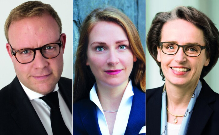 Interdisziplinäres Podcast-Gespräch zu Familienvermögen in der Corona-Krise: Christian Hammes (Eta Family Office, li.), Dr. Maren Gräfe (BDO, Mitte) und Dr. Karen Ebel (Peter May Family Business Consulting)