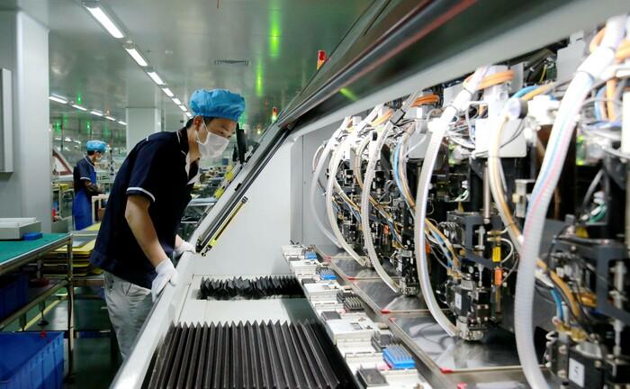 Produktionsanlage für 5G-Mobilfunkanwendungen in der chinesischen Provinz Jiangxi: Bei den Technologien der Zukunft beginnt China viele westliche Länder abzuhängen.