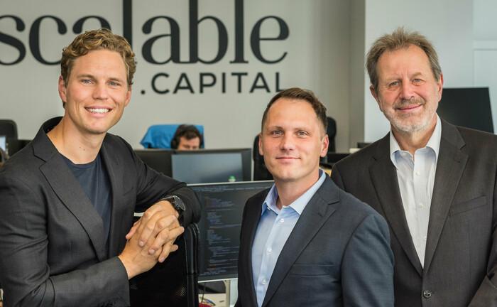 Die Scalable-Gründer (von links): Erik Podzuweit, Florian Prucker, Stefan Mittnik|© Scalable Capital