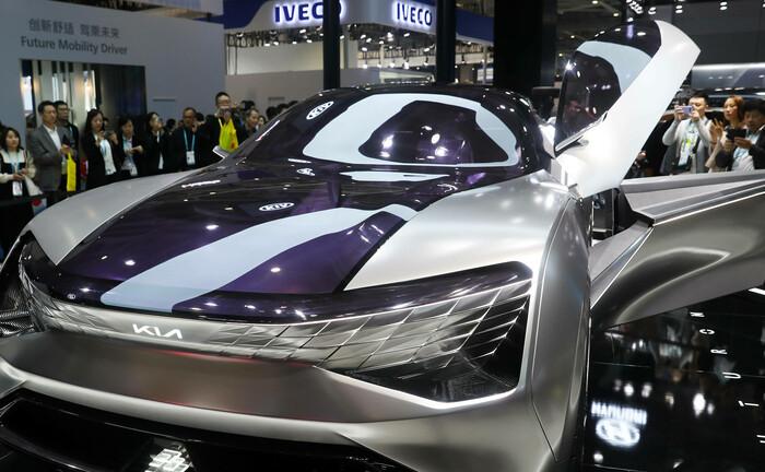 Vorstellung eines neuen wasserstoffbetriebenen Autos in Shanghai: Innovationen und neue Technologien könnten zum Erreichen der Klima- und Umweltziele beitragen.