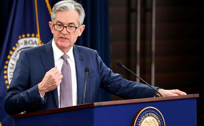 US-Notenbankchef Jerome Powell auf einer Pressekonferenz im März 2020: Ein erneutes Eingreifen der Fed ist wahrscheinlich.|© UP Photo / Imago