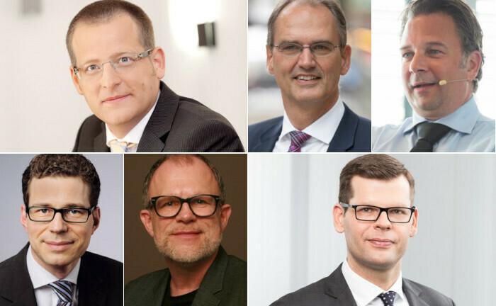 Standen im zweiten Quartal 2020 im Fokus (im Uhrzeigersinn von links oben): Georg Geenen, Friedemann Lucius, Jörg Seifart, Marco Herrmann, Frank Oliver Paschen und Stefan Fritz.