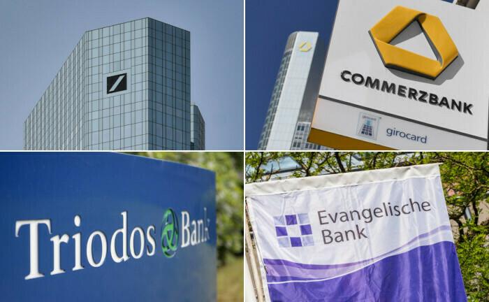 Die größten deutschen Geldhäuser: Deutsche Bank und Commerzbank tragen die Klimavereinbarung mit.|© imago images / Jan Huebner (2), imago images / penofoto, imago images / Richard Wareham