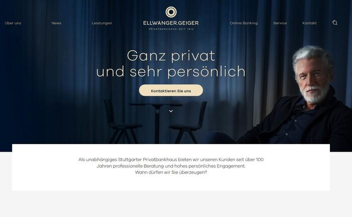 Neue Website (im Bild ein Screenshot), neuer Linkedin-Auftritt: Das Bankhaus Ellwanger & Geiger möchte deutlich moderner daherkommen|© Ellwanger & Geiger