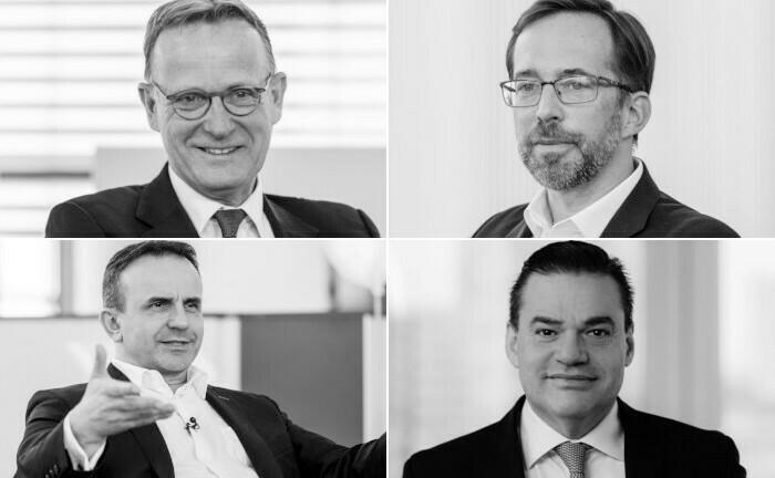 Die Teilnehmer der Gesprächsrunde (im Uhrzeigersinn von links oben): Ralf Lochmüller, Dr. Christoph Kesy, Tobias C. Pross und Dr. Pero Micic.