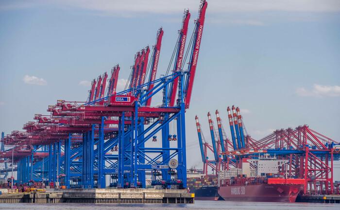 Kräne stehen am Hamburger Hafen bereit, Fracht zu verladen: Prime Capital hat einen Dachfonds entwickelt, mit den Anleger in die Exportfinanzierung und andere Kreditstrategien investieren können. |© imago images / Hoch Zwei Stock/Angerer
