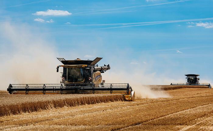 Weizenernte auf einem Feld in Thüringen: Eine private Stiftung des Aldi-Erben Theo Albrecht Junior kauft in dem Bundesland einen großen Landwirtschaftsbetrieb.