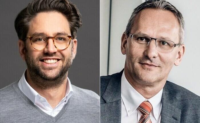 Andreas Falger vom Internationalen Bankhaus Bodensee (re.) und Harald Brock von Investify Tech: Zusammen hat man die Vermögensverwaltung der Bank digitaler gemacht und die regulatorischen Kosten gesenkt.