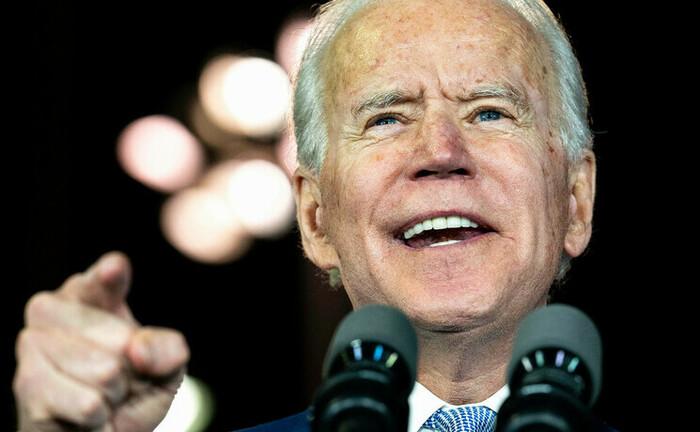 US-Präsidentschaftskandidat Joe Biden auf einer Wahlkampfrede in Los Angeles.|© Imago / ZUMA Wire