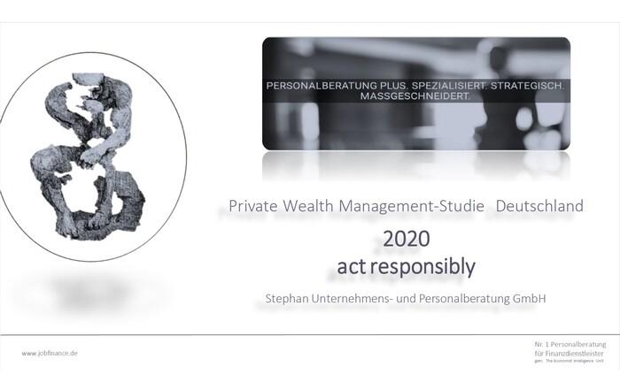 Cover der 2020er der Private-Banking-Studie der Stephan Unternehmens- und Personalberatung: Wieder haben die Studienautoren rund 1.000 Private Banker zu Trends in ihrer Branche befragt