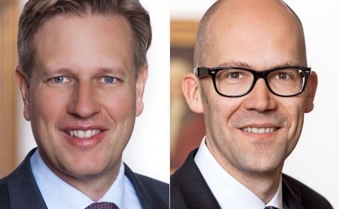 Matthias Born (l.) und Klaus Naeve, operative Doppelspitze des Berenbergs Geschäftsfeld Wealth & Asset Management: Beide Führungskräfte der Bank übernehmen in der veränderten Vertriebsstruktur noch einmal mehr Verantwortung.|© Berenberg Bank
