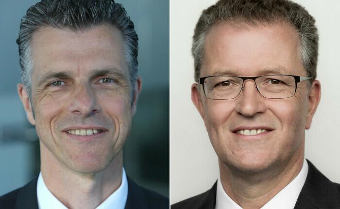 Andreas Pade (li.) und Thomas Schröer: Caceis kümmert sich seit dem zweiten Quartal um die Buchhaltung von sechzehn geschlossenen Spezialfonds der KGAL-Gruppe.|© Caceis (Pade), KGAL (Schröer)