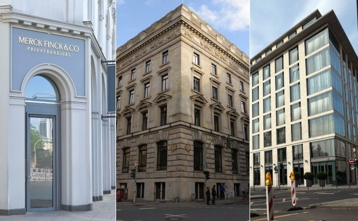 Hamburg-Standort von Merck Finck (l.) sowie die Zentralen von Warburg (Mitte) und Metzler: Die Geschäftsberichte 2019 liefern ein unterschiedliches Bild zur Lage der Privatbanken in Deutschland.