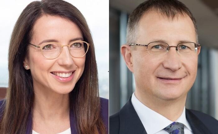 Jenny Friese und Holger Wessling, neues Führungspersonal im Apobank-Vorstand: Friese übernimmt offiziell ab 2021 das Ressort Großkunden und Märkte. Wessling verantwortet ab sofort das Privatkundengeschäft der Bank.