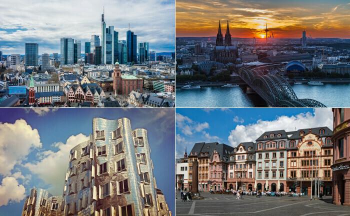 Frankfurt, Köln, Mainz, Düsseldorf (von oben links im Uhrzeigersinn)