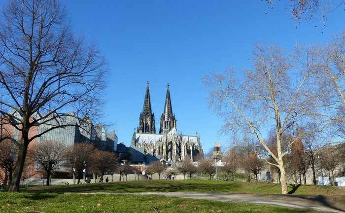 Grünfläche in unmittelbarer Umgebung des Kölner Doms
