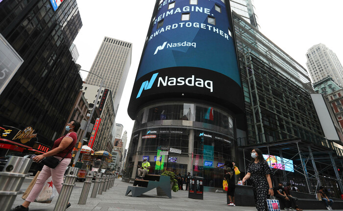 Werbung für den Nasdaq in New York City