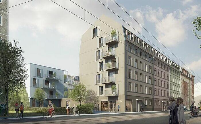 Straßenansicht des im Bau befindlichen Wohnkomplexes Lyra-Quartier in Dresden