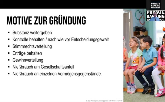 Screenshot aus der Master Class mit Jörg Plesse: In dem Online-Seminar ging es um den Einsatz von Familiengesellschaften zum Nachfolgemanagement