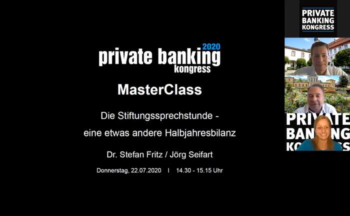 Screenshot aus der Master Class mit Dr. Stefan Fritz und Jörg Seifart: In dem Online-Seminar ging es um die Kapitalanlage von Stiftungen während Niedrigzins und Corona-Pandemie