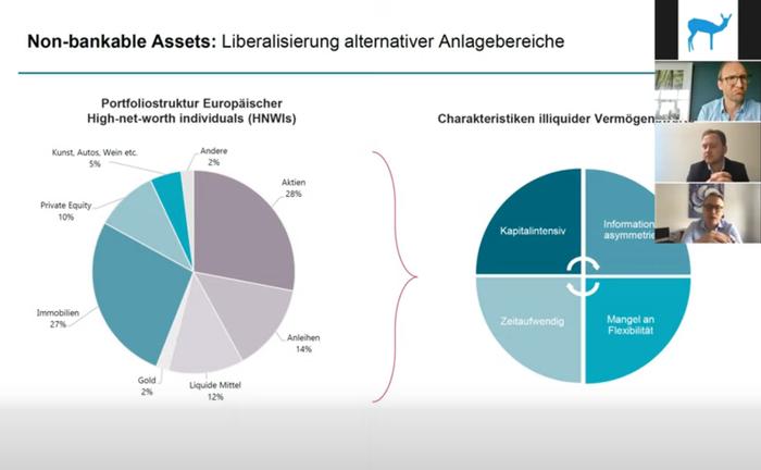 Screenshot aus der Master Class mit mit Max Heinzle und Paul Hülsmann: In dem Online-Seminar ging es um die Tokenisierung von Sachwerten