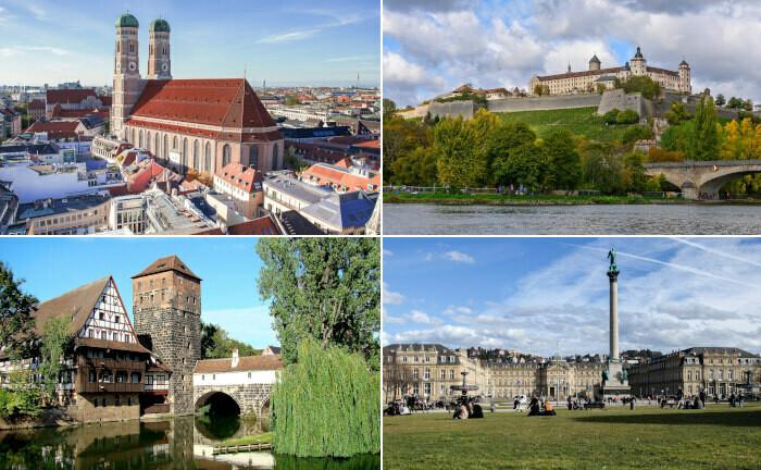 München, Würzburg, Stuttgart, Nürnberg