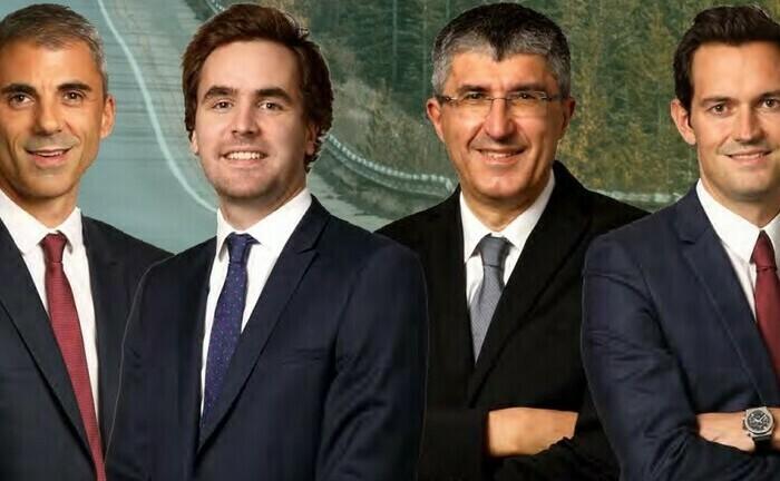 Die Portfoliomanager Jean-Claude Tamvakis und Thomas Joret sowie die Anleihe-Spezialisten Philippe Noyard und Nicolas Jullien (v.l.)