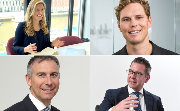 Gefragte Interviewpartner 2020 (im Uhrzeigersinn, beginnend links oben): Theresa Winkels, Erik Podzuweit, Dirk Rüttgers und Juergen Fritzen|© Andreas Gebert,  Nelex, Scalable Capital, Do Investment