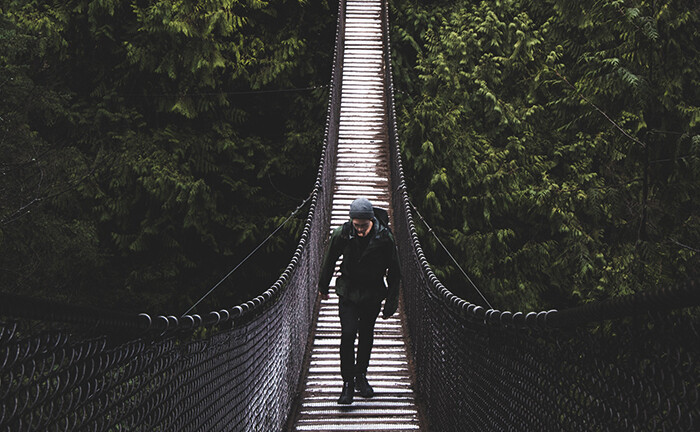 Hängebrücke vor grüner Wand