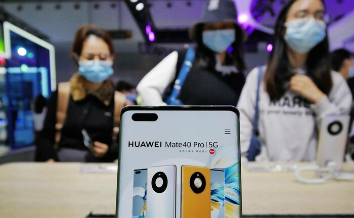 Ausstellungsstück am Stand von Huawei auf der World 5G Convention in Guangzhou: Die Aktie von Huawei steht auf der Schwarzen Liste des Weißen Hauses.|© imago images / VCG