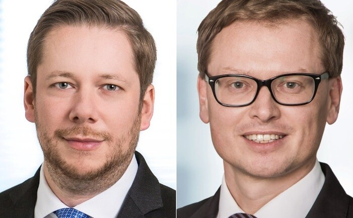 Leif Schönstedt (r.) und Nicolas Freyer, frisch gebackene Geschäftsführer von Union Investment Institutional. Schönstedt kümmert sich um Segmentsteuerung und Marketing, Freyer um konzernfremde institutionelle Kunden.