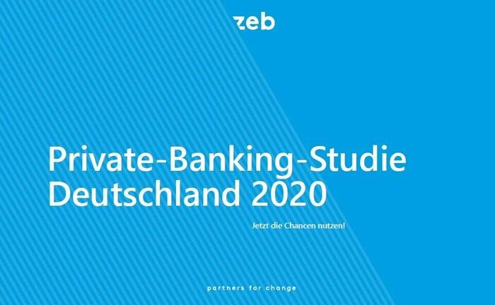 Titelblatt der zeb-Studie Private Banking Deutschland 2020