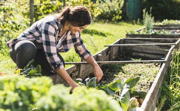 Junge Frau beim Gärtnern