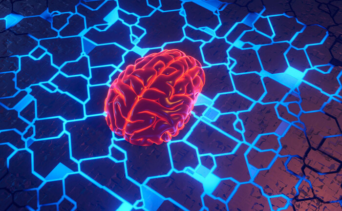 3D-Illustration eines menschlichen Hirns auf einer Leiterplatte