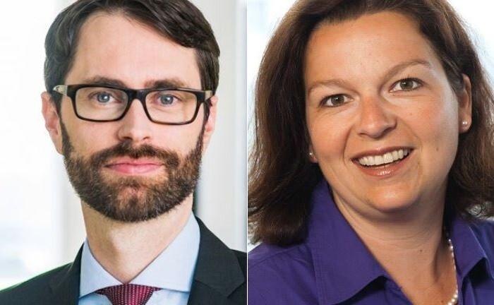 Benjamin Fischer von Blackrock und Silke Roth von der Deutschen Bank