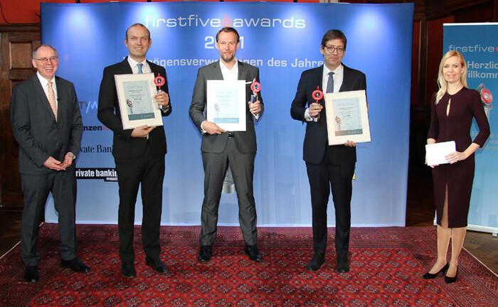 Für das Gruppenbild hat der Veranstalter die Firstfive-Award-Sieger in einer Fotomontage virtuell zusammengestellt, von links nach rechts
