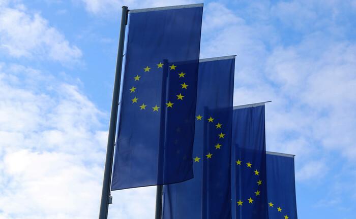 Europa-Flaggen in Frankfurt: Die Offenlegungsverordnung betrifft nicht nur Vermögensverwalter, sondern unter anderem auch Versicherer und Pensionskassen.|© IMAGO / U. J. Alexander