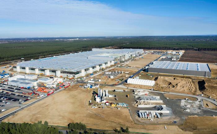 Die Baustelle von Tesla in Brandenburg