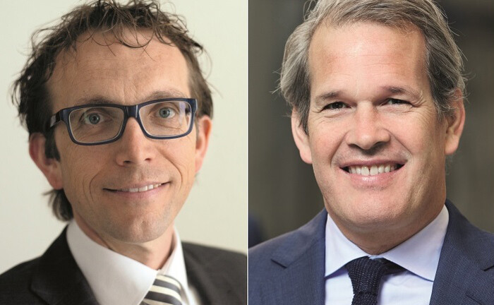 Vorstandschef Hans Hanegraaf (re.) und Bankbetriebsleiter Eric van der Deijl von der Bethmann Bank
