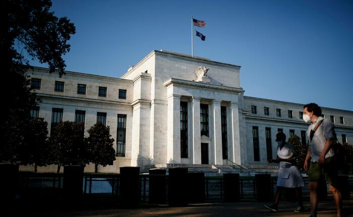 Der Hauptsitz der US-Notenbank in Washington: Invesco setzt für seinen Ausblick voraus, das die Zentralbanken die Leitzinsen stabil halten und ihre Anleihekäufe fortsetzen.|© Imago Images / Xinhua